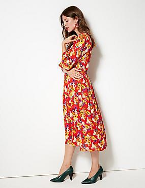 Floral Print 3/4 Sleeve Midi Dress , RED MIX, catlanding