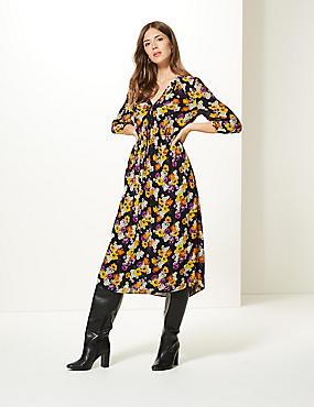 Floral Print 3/4 Sleeve Midi Dress , NAVY MIX, catlanding