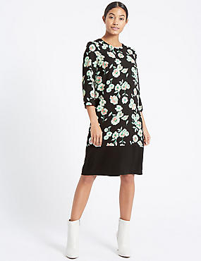 Floral Print ¾ Sleeve Tunic Dress