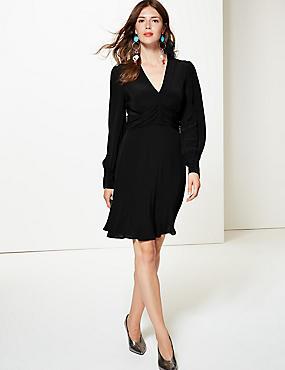 Ruched Drape V-Neck Long Sleeve Tea Dress, BLACK, catlanding