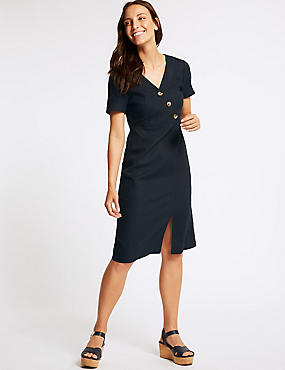 Linen Rich Short Sleeve Shift Midi Dress, NAVY, catlanding