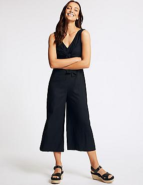Linen Rich Tie Front Jumpsuit, NAVY, catlanding