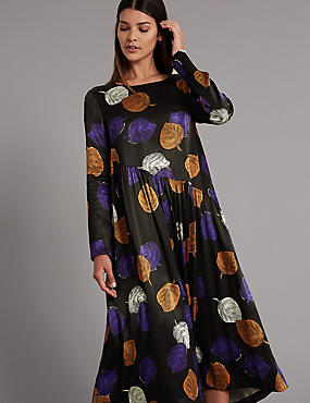 Printed Long Sleeve Tea Midi Dress , PURPLE MIX, catlanding