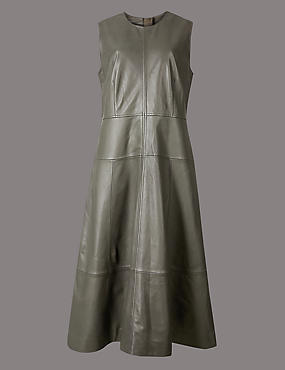 Leather Skater Midi Dress , GREY, catlanding