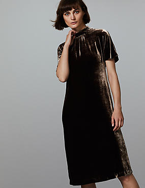 Velvet Short Sleeve Shift Dress with Silk, COCOA, catlanding