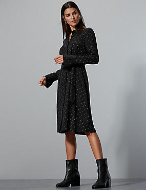 Pure Silk Printed Long Sleeve Shirt Dress , MULTI, catlanding
