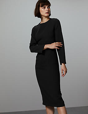 Stitch Detail Long Sleeve Midi Dress, BLACK, catlanding