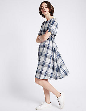 Pure Cotton Checked Swing Dress