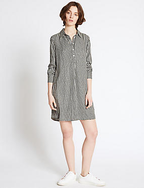 Gingham Long Sleeve Shirt Dress