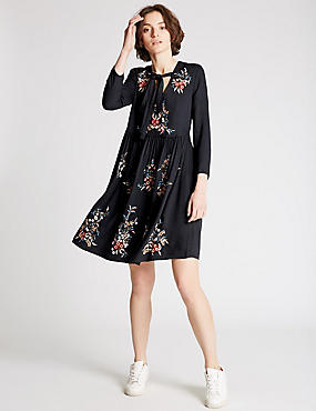 Embroidered Tie Detail Skater Dress