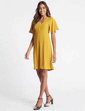 Flutter Sleeve Woven Swing Dress