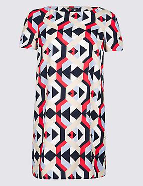 CURVE Geometric Print Tunic Dress , MULTI, catlanding