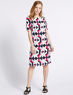 PETITE Geometric Print Tunic Dress , MULTI, catlanding