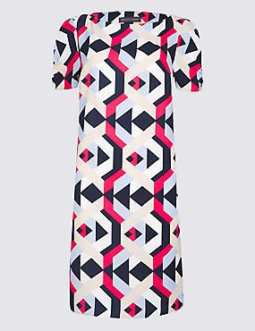 PETITE Geometric Print Tunic Dress , MULTI, catlanding
