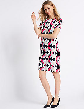 Geometrical Print Ruched Sleeve Tunic Dress , MULTI, catlanding