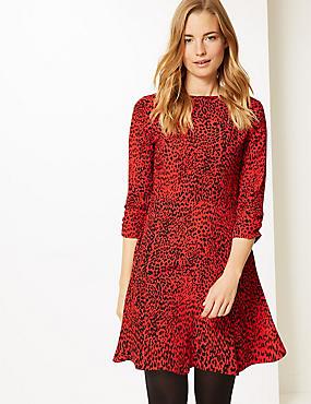Animal Print 3/4 Sleeve Swing Mini Dress, RED MIX, catlanding
