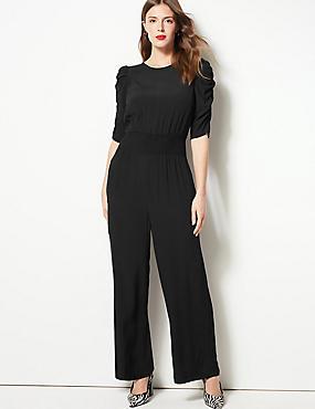Round Neck Half Sleeve Waisted Jumpsuit, BLACK, catlanding