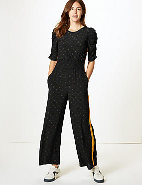 Star Print Half Sleeve Jumpsuit, BLACK MIX, catlanding