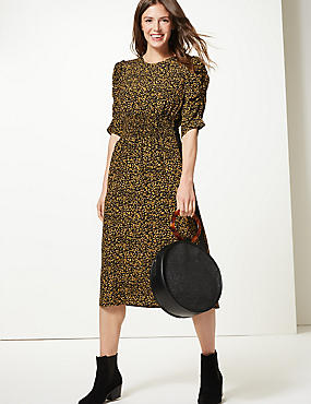 Animal Print Waisted Midi Dress, YELLOW MIX, catlanding