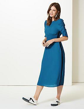 Half Sleeve Swing Midi Dress , TEAL, catlanding