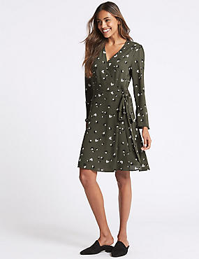 Floral print Long Sleeve Wrap Dress, GREEN MIX, catlanding