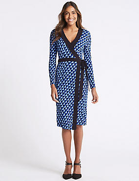 Geometric Print Long Sleeve Wrap Midi Dress, BLUE MIX, catlanding