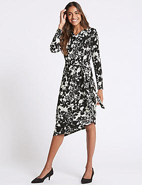 Floral Print Cowl Neck Bodycon Midi Dress, IVORY MIX, catlanding