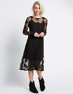 Mesh Lace Shift Dress with Buttonsafe™