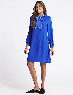 Tie Neck Long Sleeve Swing Dress