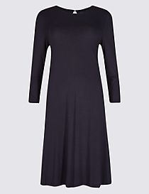 Flared Long Sleeve Swing Dress