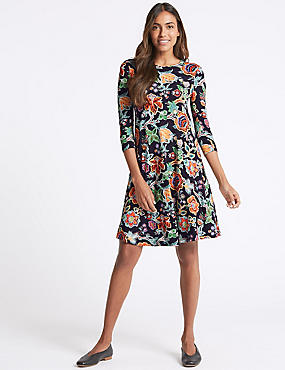 Flared Floral Print Long Sleeve Swing Dress, NAVY MIX, catlanding