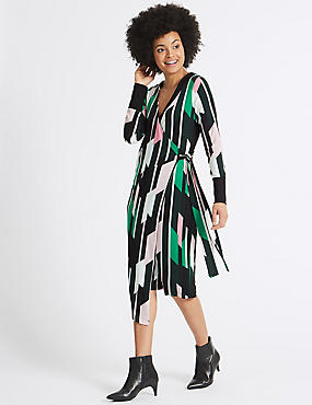 Geometrical Print Long Sleeve Wrap Dress