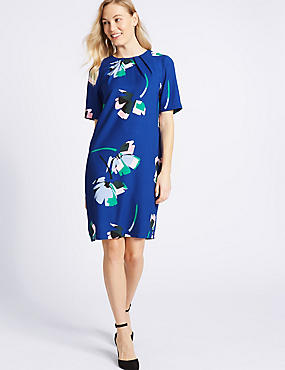 Floral Print Half Sleeve Tunic Dress, BLUE MIX, catlanding