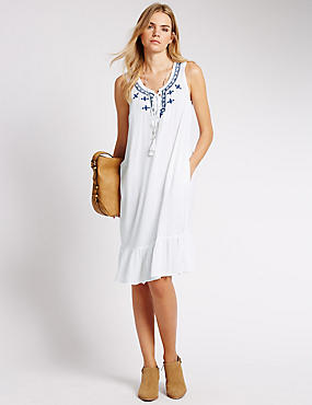 Embroidered Fit & Flare Tunic Dress