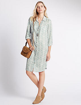 Pure Modal Tailored Fit Ikat Print Shirt Dress