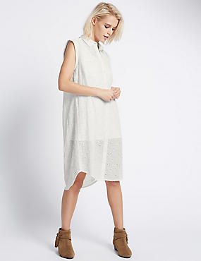 Loose Fit Cutwork Shift Dress with Buttonsafe™