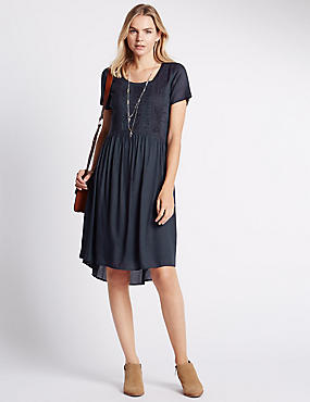 Pure Modal Loose Fit Embroidered Dress