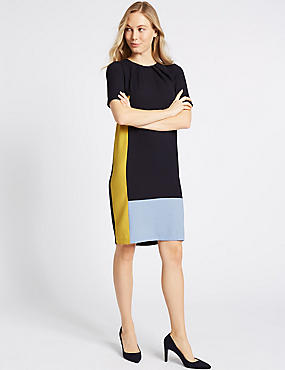 Colour Block Half Sleeve Tunic Dress