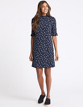 Floral Print Frill Sleeve Tunic Dress, NAVY MIX, catlanding