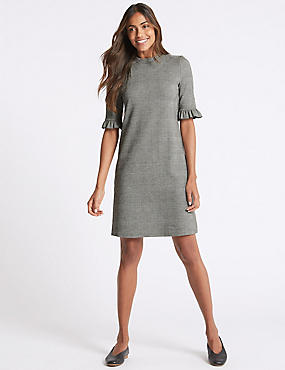 Jacquard Check Frill Sleeve Tunic Dress