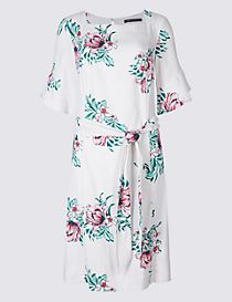 Linen Blend Floral Print Tunic Dress