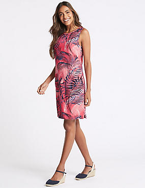 Linen Blend Printed Tunic Dress, PINK MIX, catlanding
