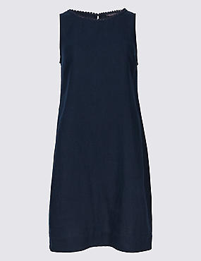 PETITE Linen Blend Tunic Dress , NAVY, catlanding