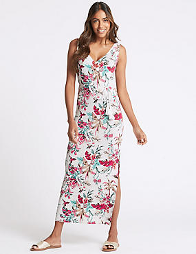 Floral Print Ruched Front Maxi Dress