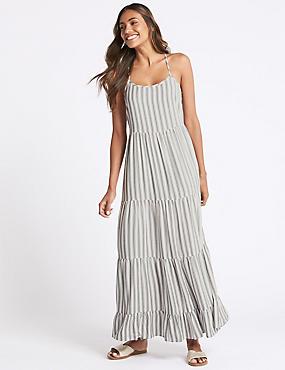 Striped Strap Drop Waist Maxi Dress, IVORY MIX, catlanding