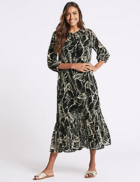 Palm Print 3/4 Sleeve Tunic Maxi Dress