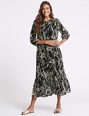 Palm Print 3/4 Sleeve Tunic Maxi Dress, BLACK MIX, catlanding