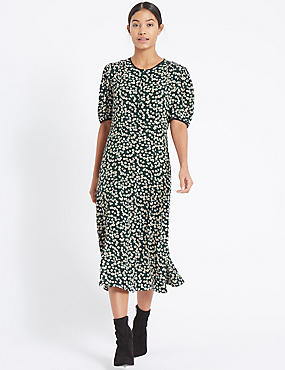 Daisy Print Short Sleeve Tea Midi Dress