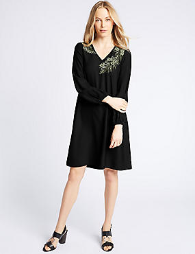 Embroidered Long Sleeve Tunic Midi Dress