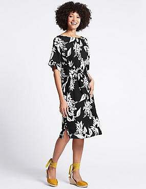 Linen Rich Floral Print Tunic Dress , BLACK MIX, catlanding